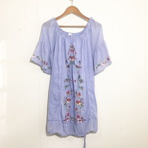 Umgee Embroidered Dress with Bell Sleeves
